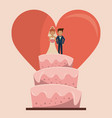 colorful background of wedding cake with couple of vector image vector image