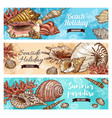 corals and marine shells beach mollusk vector image
