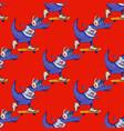 crocodile on skateboard seamless pattern vector image