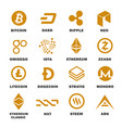 cryptocurrencies logo set vector image vector image