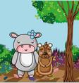 cute wild animals cartoons vector image