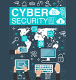 cyber security internet poster vector image vector image