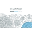 family Doodle Website Template Design vector image vector image