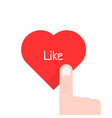 finger pressed on red heart button isolated on vector image vector image