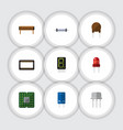 flat icon electronics set of unit display vector image vector image