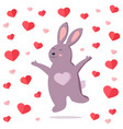 funny jumping rabbit in love vector image vector image