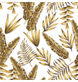 gold tropical leaves seamless white background vector image