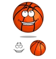 Grinning happy cartoon basketball ball vector image