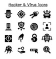 hacker computer virus icon set vector image