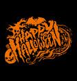 happy halloween text design lettering vector image vector image