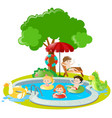 many kids swimming in the pool vector image vector image