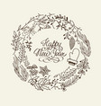 monochrome happy new year circle wreath concept vector image