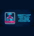 neon dry cleaners glowing sign with hanger and vector image