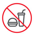 no food line icon prohibition and forbidden vector image vector image