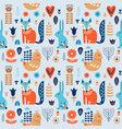 nordic ornaments folk art seamless pattern vector image