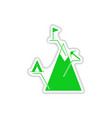 paper sticker on white background mountain vector image vector image