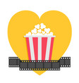 popcorn film strip ribbon line red yellow box vector image