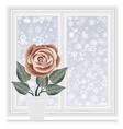 Save heat postcard closed window with snowflakes vector image vector image