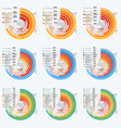 set circle informative infographics vector image vector image