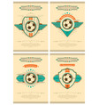 set football poster in retro style with emblem vector image vector image