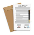 signed business contract vector image vector image