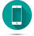 Smartphone white icon on green background with vector image vector image