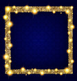 square gold frame with lights on a dark background vector image vector image