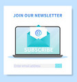 subscribe to our newsletter web banner template vector image vector image