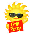sun glasses grill party vector image vector image