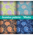 Whales Set of abstract seamless pattern Template