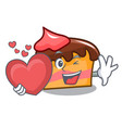 with heart sponge cake mascot cartoon vector image vector image