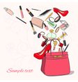 Woman bag with cosmetics vector image vector image