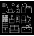 Home accessories and furniture icons vector image