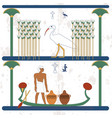 ancient egypt background a man carries vessels on vector image vector image