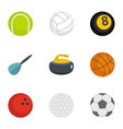 ball icons set flat style vector image vector image