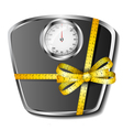 Bathroom scale with tape measure bow vector image vector image
