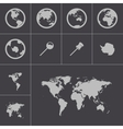 black world map icons set vector image