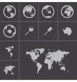 black world map icons set vector image