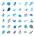 blue plane icons set isometric style vector image vector image