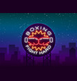 Boxing logo neon sign emblem is isolated