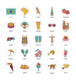 brasil icons set cartoon style vector image vector image