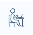 Businessman working on laptop sketch icon vector image vector image