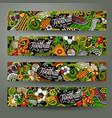 cartoon doodles football horizontal banners vector image vector image