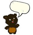 cartoon happy little teddy black bear with speech vector image vector image