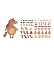 cartoon horse creation set icons with different vector image vector image