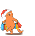 cat and bags Santa vector image