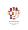 cleaning service logo set house cleaning tools in vector image vector image