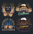 cruel animals and skateboards colorful emblems vector image vector image