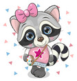 cute raccoon with a bow on a white background vector image