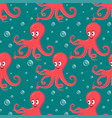 cute smiling red octopus swimming underwater with vector image vector image